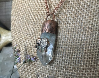 CRYSTAL clear quartz - crystal healing - reiki - elephant - balance physical/mental/emotional planes - copper - boho hippie necklace