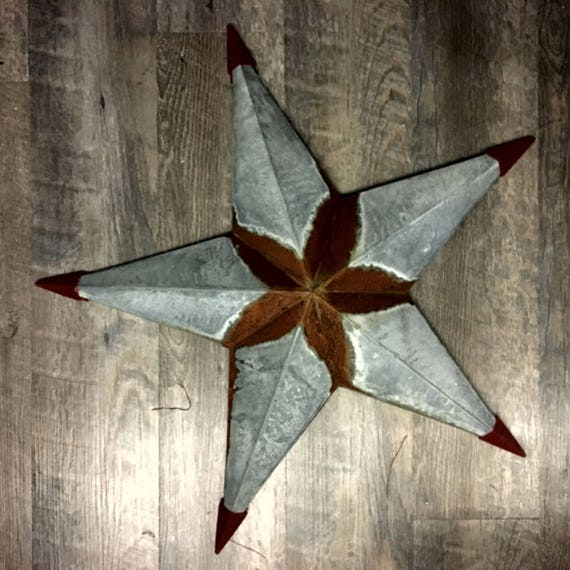 "Galvanized and rustic rusty 24"" barn star"