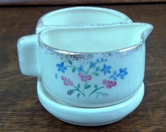 Vintage Creamer and Sugar Bowl with Pink and Blue Flowers 1954.