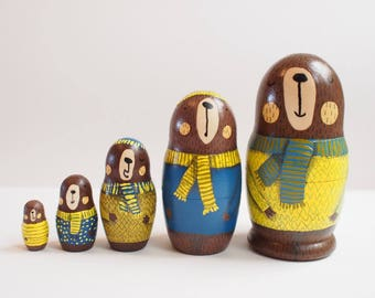 Handprinted bear russian dolls