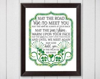 May the Road Rise To Meet You, Irish Blessing, 8x10 Instant Download, Printable Irish Art, Digital Home Decor, Celtic Art, Irish Art
