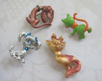 Cat Brooches, Dog Brooches, Vintage Brooches Lot, Animal Brooches, Figural Pins, Scatter Pins, Gerry's