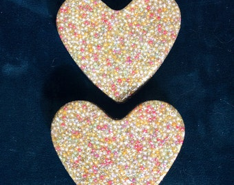 Large Gold Sparkly cupcake sprinkle heart  badge pin