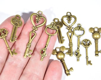 Key Charm Collection - 10 Bronze key charms - Bronze key charms set - Skeleton key charms set - Steampunk keys - Steampunk jewelry - BR856