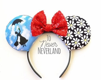 Mary Poppins Ears, Mary Poppins Mickey Ears, Mary Poppins Minnie Ears, Mary Poppins Mouse Ears, Mickey Ears, Mary Poppins Ears Headband
