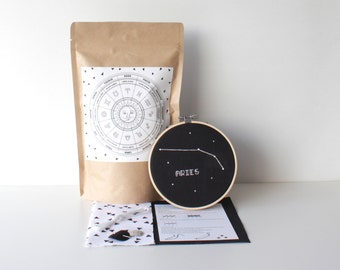 aries cross stitch set with supplies & easy to follow instructions modern french knot science decor zodiac kit handmade gift constellation