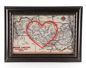 Grand Canyon Hand Embroidered Heart Map, Grand Canyon Map, Paper, Cotton Anniversary, Mother's Day Gift, Love, Travel, Engagement, Wedding