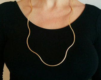 Leather Necklace, Gold Necklace, Statement Necklace, Leather Jewelry, Simple Leather Necklace, Long Necklace, Gold Tubes Necklace