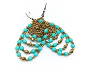 Bronze Teal Earrings, Africa Earrings, Ethnic Earrings for Women, African Earrings, Gift for Her, Ethnic Jewelry, Boho Earrings
