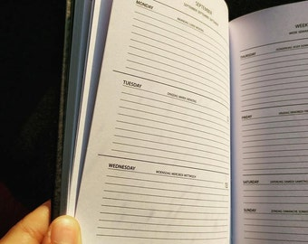 Personalised 2017 schedule - Format A6 type small moleskine