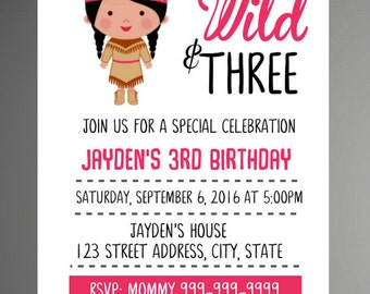 Young, Wild, and Three Invitations - DIY - Pink Tribal Tee Pee Invitations for a boy - Third Birthday Party Invites - Instant Download