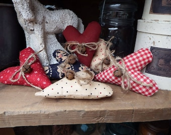Red Cream and Navy Hearts, Patriotic Heart Bowl Fillers, Americana Cupboard Tucks, Country Hearts, Heart Decor, Fabric Hearts, Prim Hearts