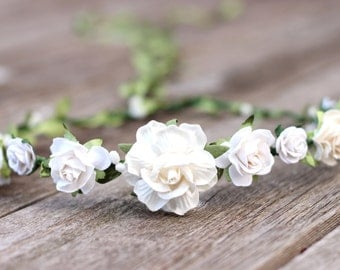 Flower Crown White and Ivory Greenery Floral Crown Baby Flower Crown Girls Flower Crown Toddler Flower Crown Hair Wreath White Hair Piece
