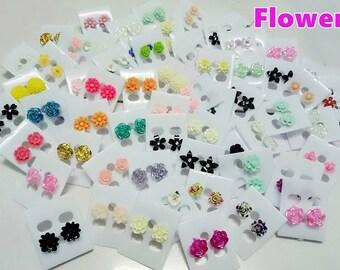 50 Pairs Wholesale lot Stud Earrings Flower,Bow,crystal,Pearl imitation