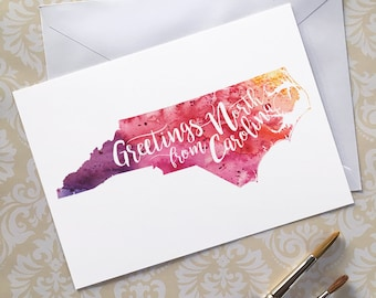 North Carolina Watercolor Map Greeting Card, Greetings from North Carolina Hand Lettered Text, Gift or Postcard, Giclée Print, 5 Colors