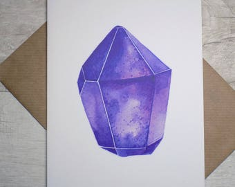 Greeting Card - Purple Amethyst Crystal - February Birthstone - Birthday - Recycled - Gemstone - Watercolor Illustration Print