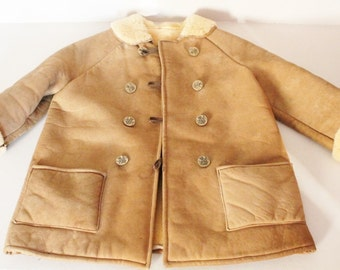 Suedette coat for child, vintage beige coat, child fur coat, vintage wardrobe for child, suedette jacket