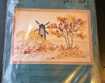 """Cathy Needlecraft Water Colors Accents Windmill K003 50527-003  Crewel Kit Water Color Barbara Krupp 5 x 7 """""""
