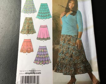 Simplicity Sewing Pattern 4283 Khaliah Ali Collection Skirt With Lenght And Trim Variations Cut Crosswise Size 10 12 14 16 18 New Uncut