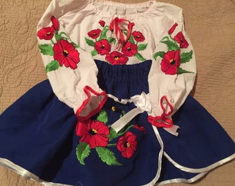 Ukrainian  costume for infant girl folk syle embroidered