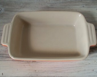 Le Creuset ceramic oven dish, French small oven dish, French vintage orange and white dish
