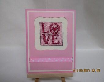 Valentine Card Cross stitched
