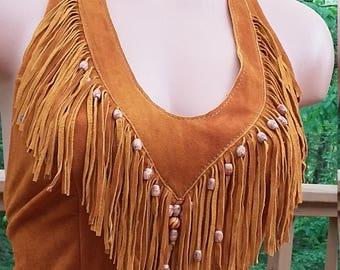 Deer skin suede fringed and beaded Boho, hippie, western,festive halter top