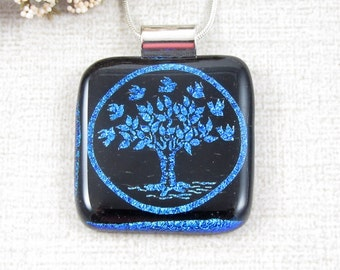 Blue Fused Dichroic Tree Pendant - Glass Tree of Life Necklace - Nature Jewelry