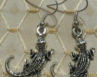 Alligator Earrings Crocodile Tibetan Silver Dangle Earrings