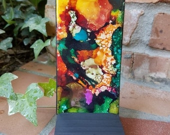 Alcohol Ink, Painting, Tile, Abstract, Oranges, Greens, Blues, Blacks