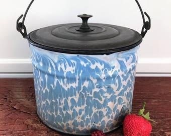 Authentic Baby Blue & White - Enamelware - Graniteware - Berry Bucket - Swirl/Sponge Pattern - Metal Lid and Handle - Heavy - Farm Decor