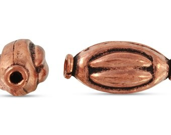 10 Pcs 18x9 mm Copper Oval Shaped Beads With Design (CPOVL18009)