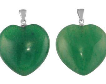 1 Pc 24x26 mm Green Aventurine Natural Heart Shape Gemstone Pendant (GSP100271)