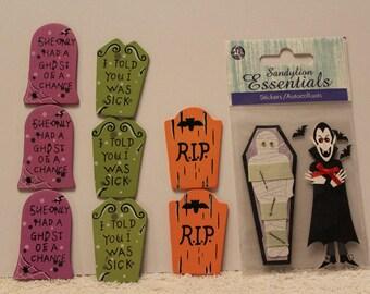 Free Shipping!  Halloween Stickers, Wooden Tomb Stones Embellishments - Sandylion - NIP - SNSG3