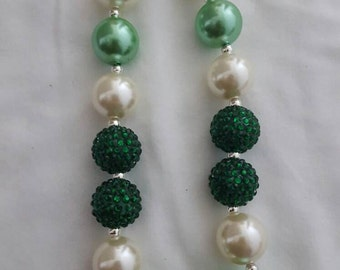 SALE!!! 9 inch adjustable Green and off-white little girls necklace. Bubblegum necklace