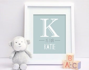 Large Letter (Teal) - Personalised Nursery Print - Children's Wall Art - Baby Nursery Decor
