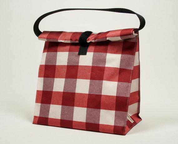Bolsa de almuerzo bolsa merienda cuadros vichy rojo y - Bolsa de almuerzo ...