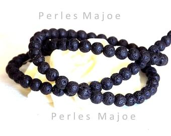 Lot de 84 perles de lave rondes noires naturelles 4 mm