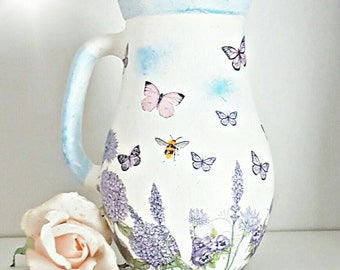Vase for flowers, pretty butterfly vase, lilac and sky blue vase, butterfly vase, pastel vase, gift for her, gift for new home, pretty decor