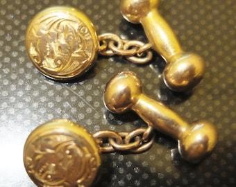 Antique Edwardian era 9ct Gold Dumbbell and Ornate Stud Cufflinks 7.6 grams - FREE UK POSTAGE.