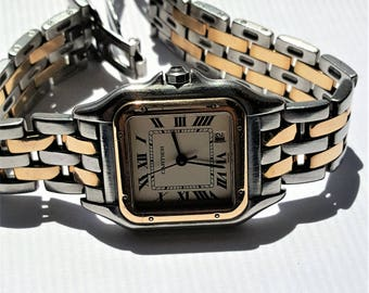 Cartier  Panthere (PANTHER)  Quartz WATCH ~ 2 Rows of 18 K Solid Gold  & Stainless Steel ~ BEAUTIFUL !!!