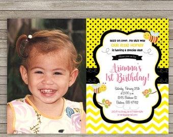 Bumble Bee Birthday Invitation, Little Bee Invitation, Bumble Bee Invite, First Birthday Invitation Printable, Bumble Bee 1st Birthday