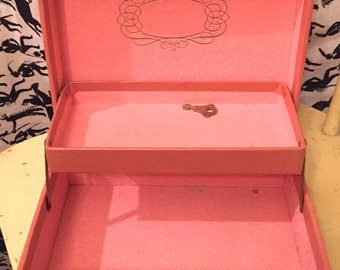 Vintage 1950s 1960s Jewelry Box Pink With Pink Lining Small Jewel Box Gold Scroll Etched Trinket Box