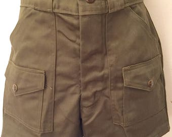 Vintage 1970s 1980s Official Boy Scout Olive Green Shorts High Wasited Camp Shorts Deadstock Retro Festival Uniform Collectible