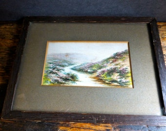 Pretty Original Watercolour 'The Moors Brook with Cawsand Beacon' - Dartmoor - Artist Unknown - Frame measures 230x170mm