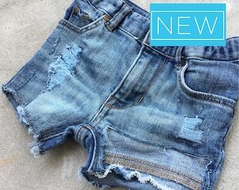 18-24m High Waisted Baby Girl Custom Denim Shorts