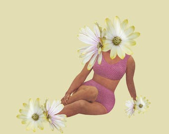 Surrealist Collage Print: Lounging Flower Girl