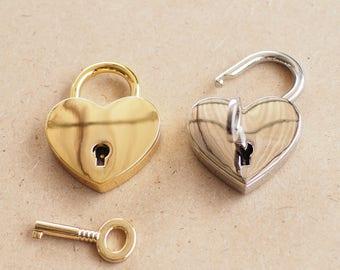 1 set - Heart Shape Padlock and Working Key Charms Pendants, Key charm, Padlock charm, Wedding