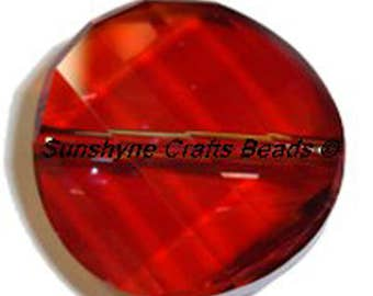 Swarovski Crystal Elements Beads 1Pc 5621 CRYSTAL RED MAGMA Twisted Faceted Bead 22MM