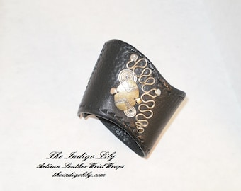 Black Leather Wrist Wrap w/Mixed Metal Abstract Design & Tooled Edging / Handcrafted ArtWear / Velcro or Snap Closure / Leather Lined